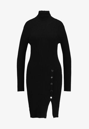 VMABA BUTTON ROLLNECK DRESS - Pletené šaty - black