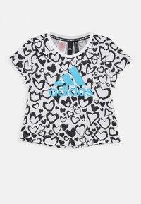 adidas Performance - G MH GRA TEE - Camiseta estampada - white/black/signal cyan - 0