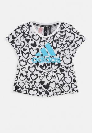 T-shirt con stampa - white/black/signal cyan