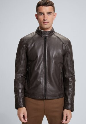QUINTO - Leather jacket - dunkelbraun