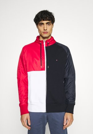MIX MEDIA COLORBLOCK ZIP THROUGH - Felpa aperta - desert sky/primary red /white