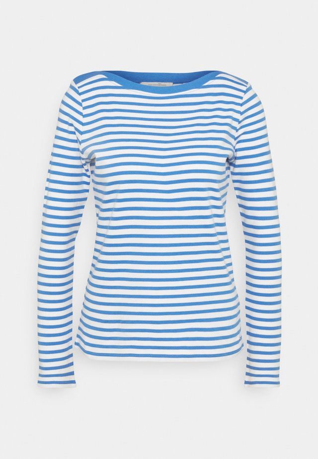 CONTRAST NECK - Long sleeved top - mid blue/white
