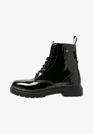 Lace-up ankle boots - black shiny