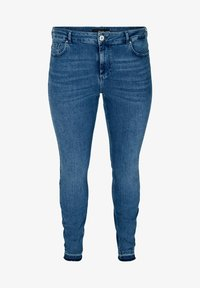 Zizzi - AMY WITH FRAYED EDGES - Slim fit jeans - blue - 1