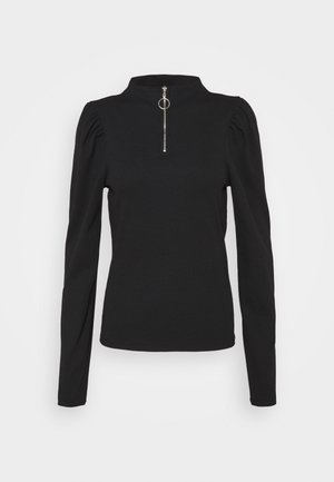 ZONE PUFF SLEEVE HIGH NECK TOP  - Long sleeved top - black