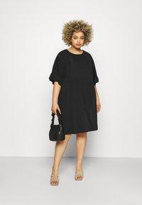 Missguided Plus - FRILL SMOCK DRESS - Day dress - black - 1