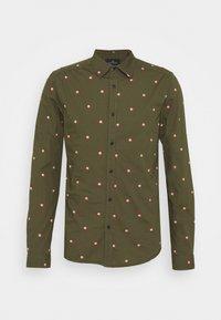 SLIM FIT WITH ALL OVER PRINT - Skjorta - dark green/light pink