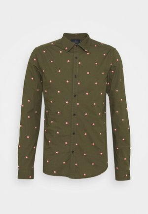 SLIM FIT WITH ALL OVER PRINT - Skjorta - dark green/light pink