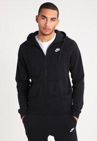 Nike Sportswear - CLUB FULL ZIP HOODIE FRENCH TERRY - Sweatjakke /Træningstrøjer - black/white - 0