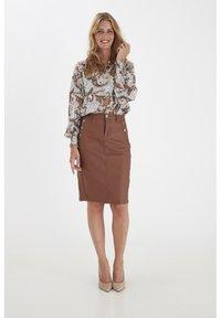 Fransa - FRNOTALIN - A-line skirt - dark camel - 1