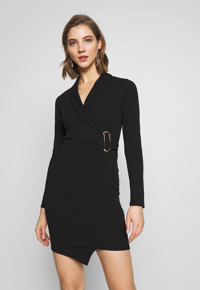 WRAP FRONT BUCKLE MINI - Shift dress - black