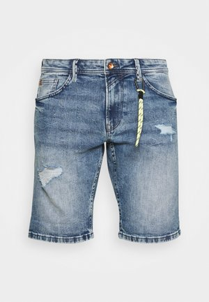 REGULAR FIT SLUB - Denim shorts - destroyed bleached blue denim