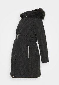 Dorothy Perkins Maternity - QUILT LONG LUXE BELTED COAT - Winter coat - black - 0