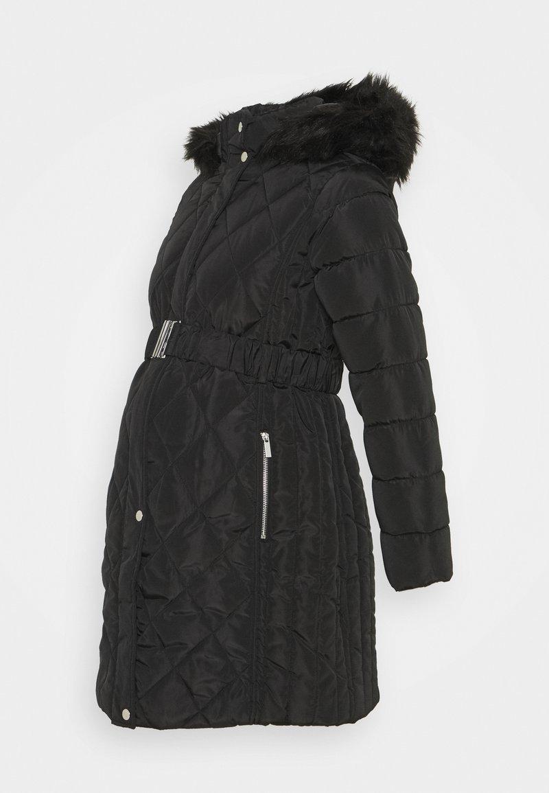 Dorothy Perkins Maternity - QUILT LONG LUXE BELTED COAT - Winter coat - black