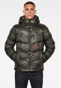 G-Star - WHISTLER HOODED PUFFER - Winter jacket - forest night circle camo - 0