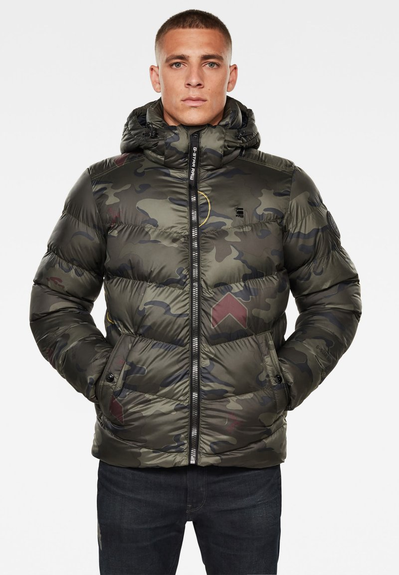 G-Star - WHISTLER HOODED PUFFER - Winter jacket - forest night circle camo