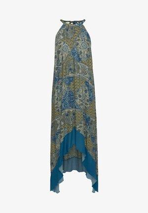 Maxi dress - blau-taupe-bedruckt