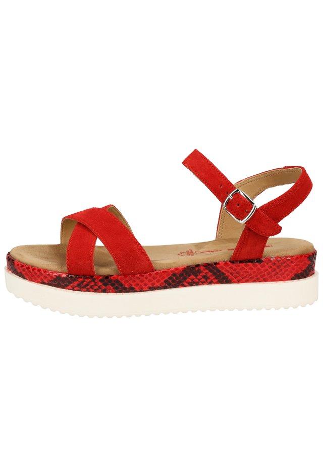 S.OLIVER SANDALEN - Korkeakorkoiset sandaalit - red/snake 507