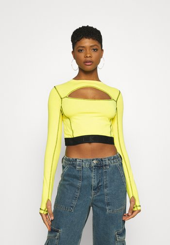 RETRO CUTOUT CROPPED TAPE LONGSLEEVE  - Long sleeved top - yellow