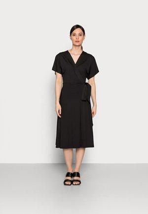 REGULAR MIDI WRAP DRESS - Jersey dress - black