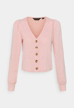 PUFF SLEEVE BRUSHED CARDIGAN - Chaqueta de punto - blush