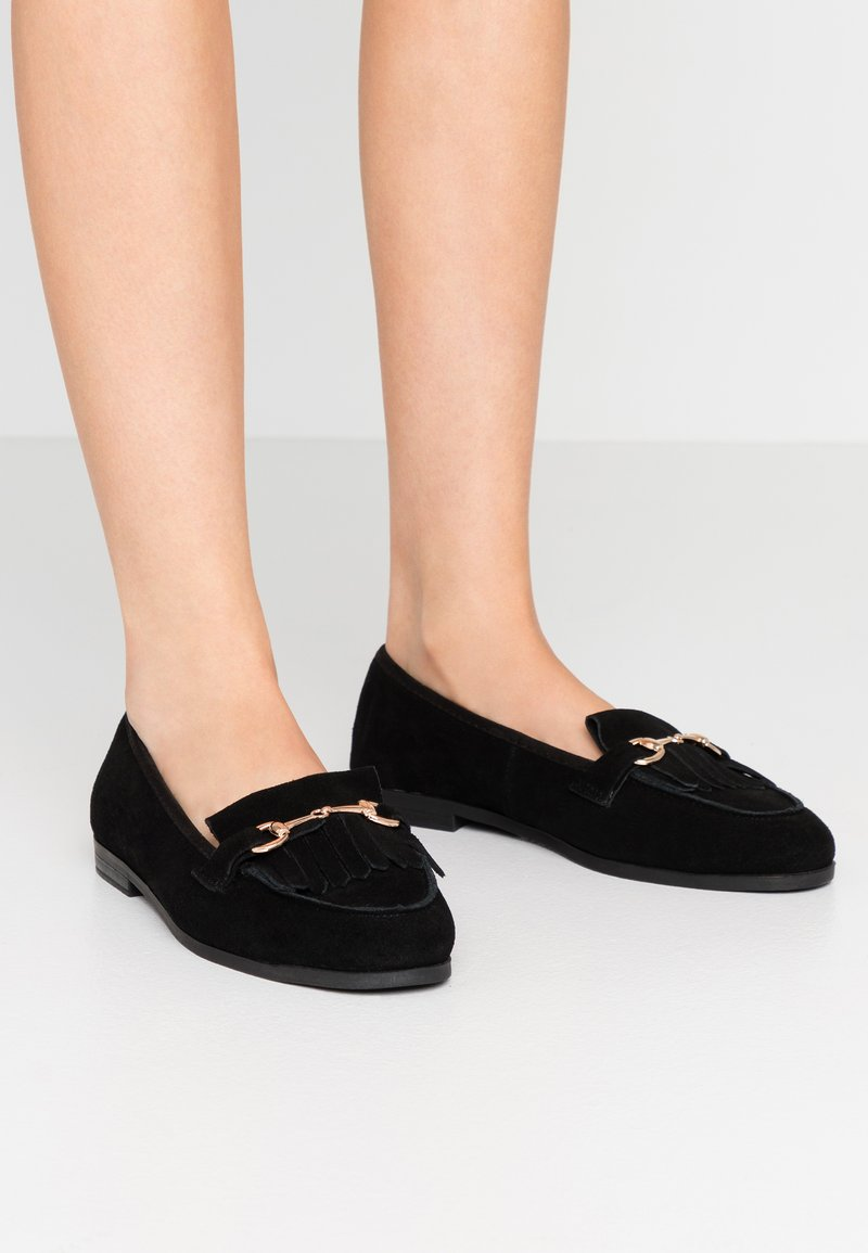 Dorothy Perkins Wide Fit - WIDE FIT LIME LOAFER - Instappers - black