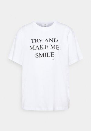 TRY AND MAKE ME SMILE - T-Shirt print - white