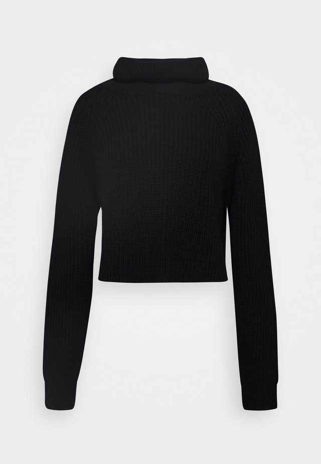 ROLL NECK BATWING CROP JUMPER - Svetr - black