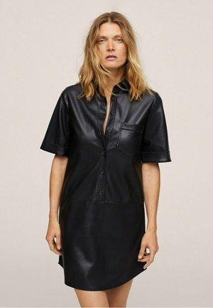 EFECTO PIEL - Robe chemise - zwart