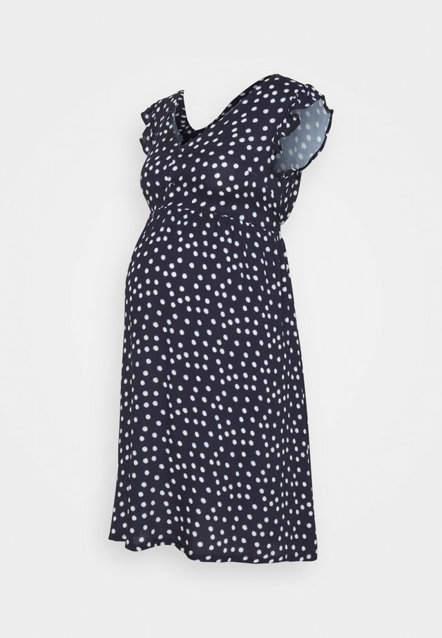 SPOT FRILL SLEEVE DRESS - Korte jurk - navy