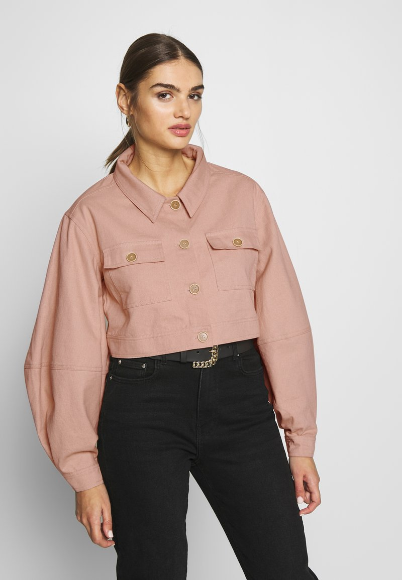 Missguided - BALLOON SLEEVE SHACKET - Denim jacket - blush