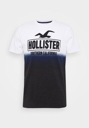 OMBRE LOGO - T-shirt imprimé - white/navy