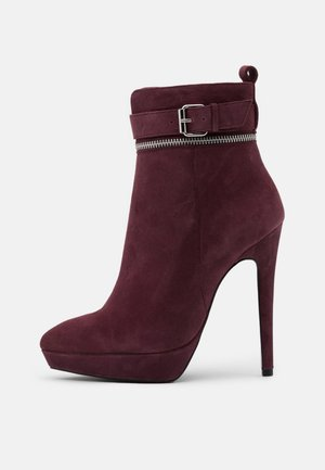 LEATHER - High Heel Stiefelette - bordeaux