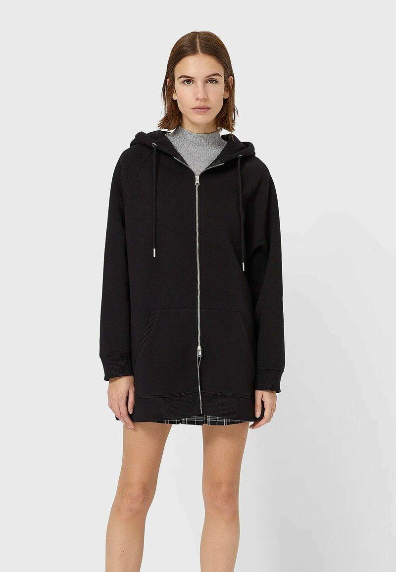 Stradivarius - Zip-up hoodie - black