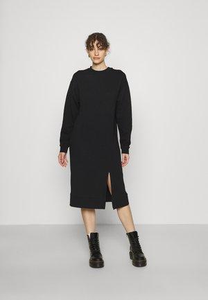 SWEAT - Midi slit dress - Day dress - black