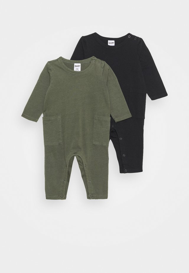 LARSON SNAP ROMPER 2 PACK - Jumpsuit - black/beetle green