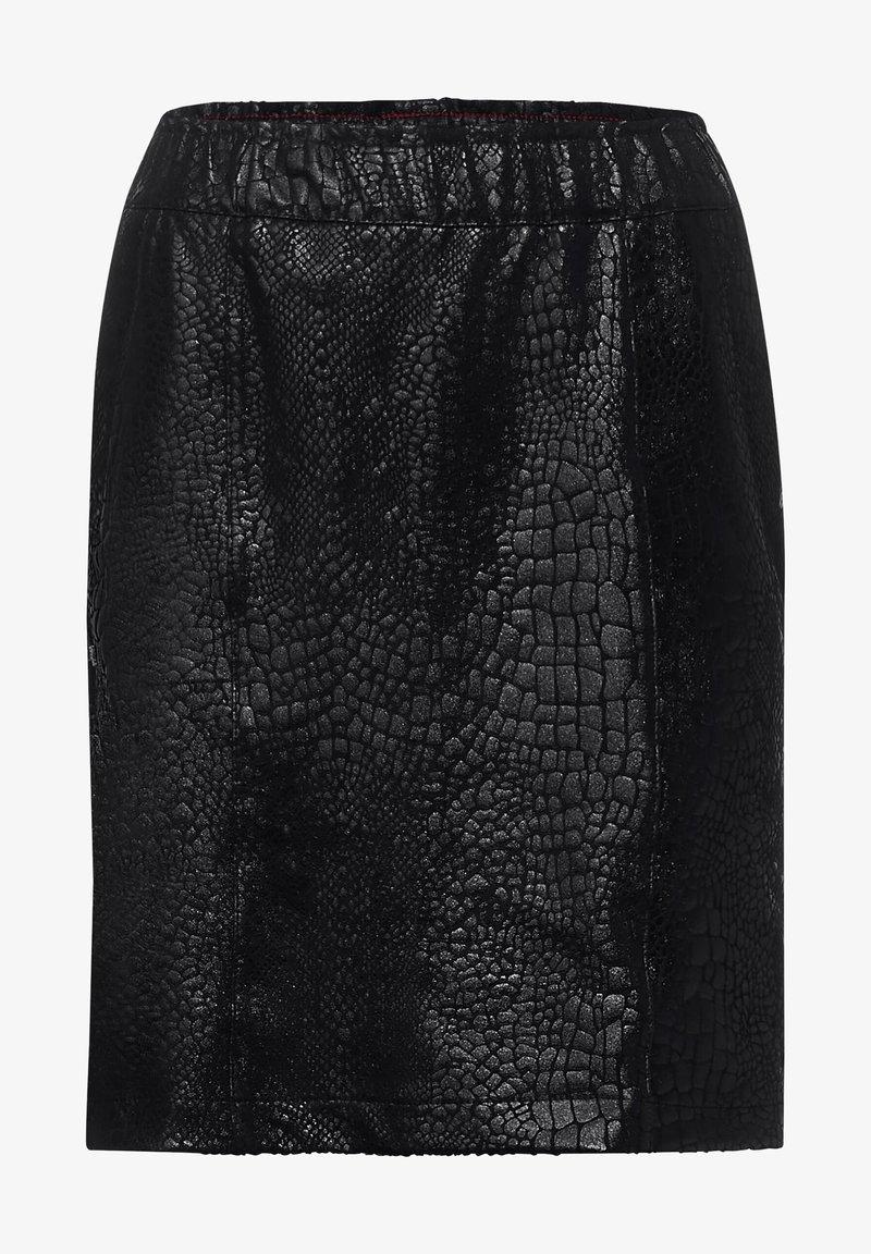 Street One - SCHLANGEN-OPTIK - Mini skirt - schwarz
