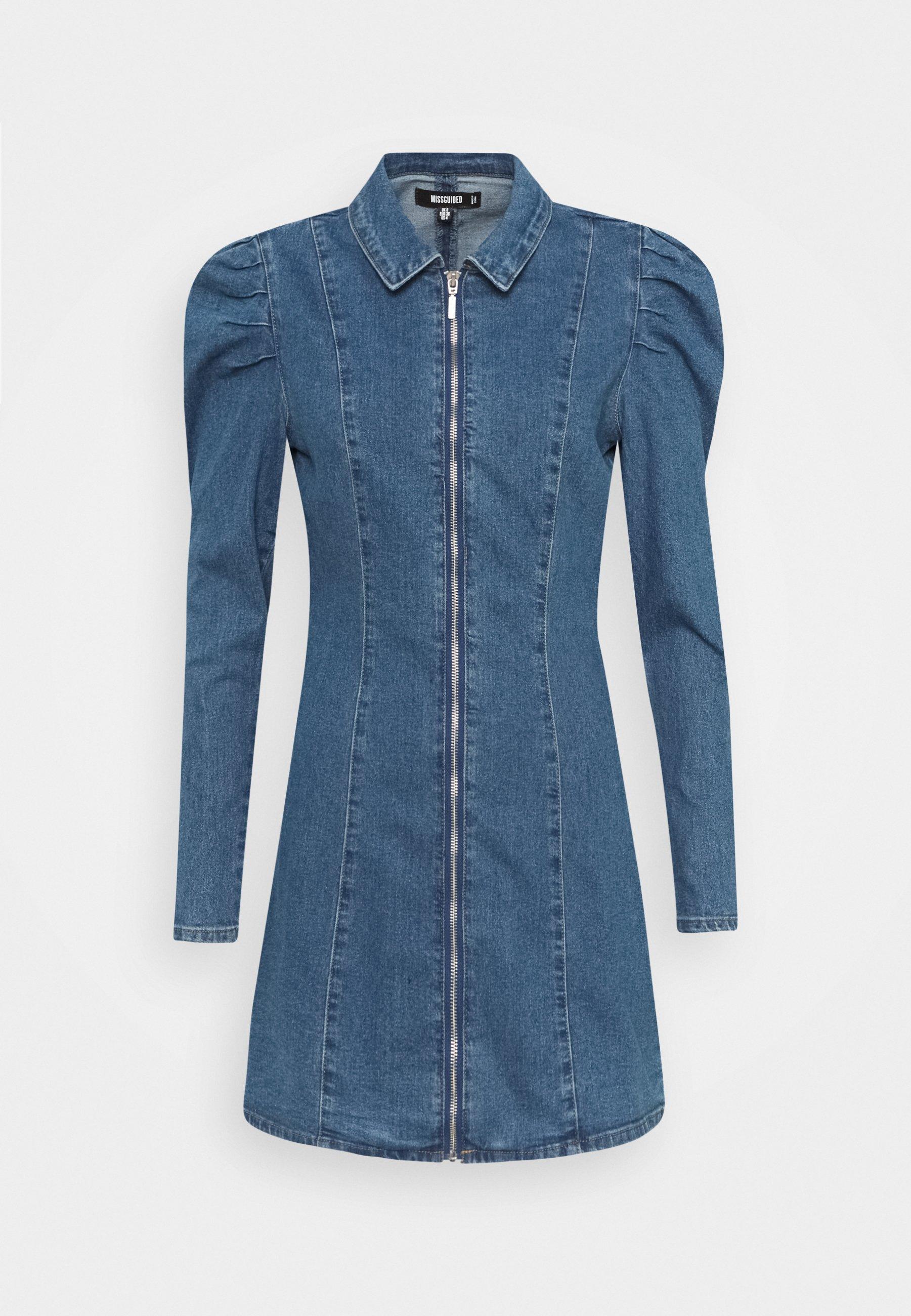 Women ZIP PUFF SLEEVE DENIM DRESS - Denim dress