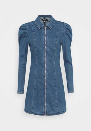 ZIP PUFF SLEEVE DENIM DRESS - Dongerikjole - blue