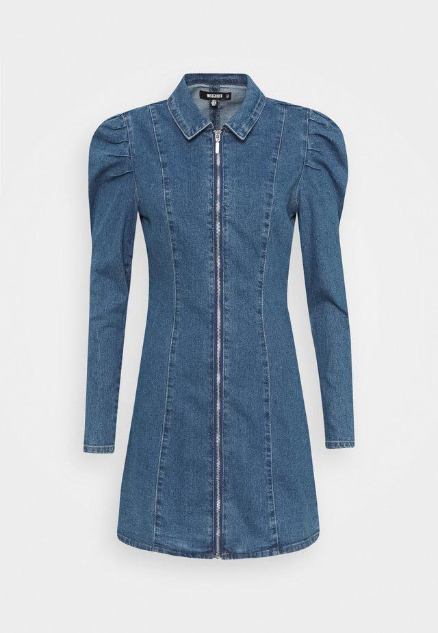 ZIP PUFF SLEEVE DENIM DRESS - Denimové šaty - blue