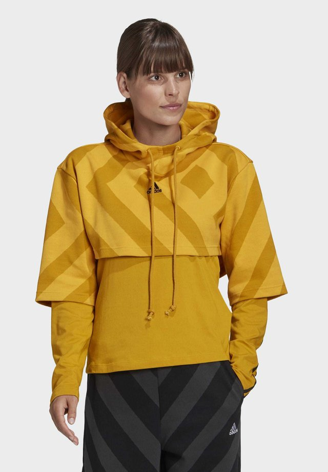 PRIMEGREEN CROPPED HOODIE - Bluza z kapturem - gold