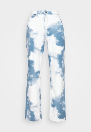 PRINTED SLOUCHY FIT CLOUD PRINT - Jean droit - blue/white
