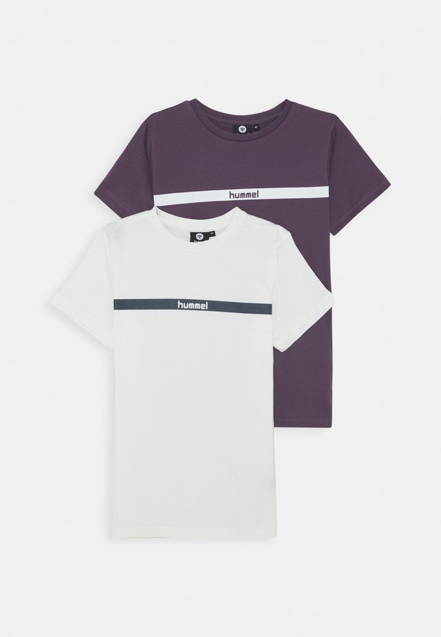 HMLLAN 2 PACK - T-Shirt print - vintage violet/marshmallow