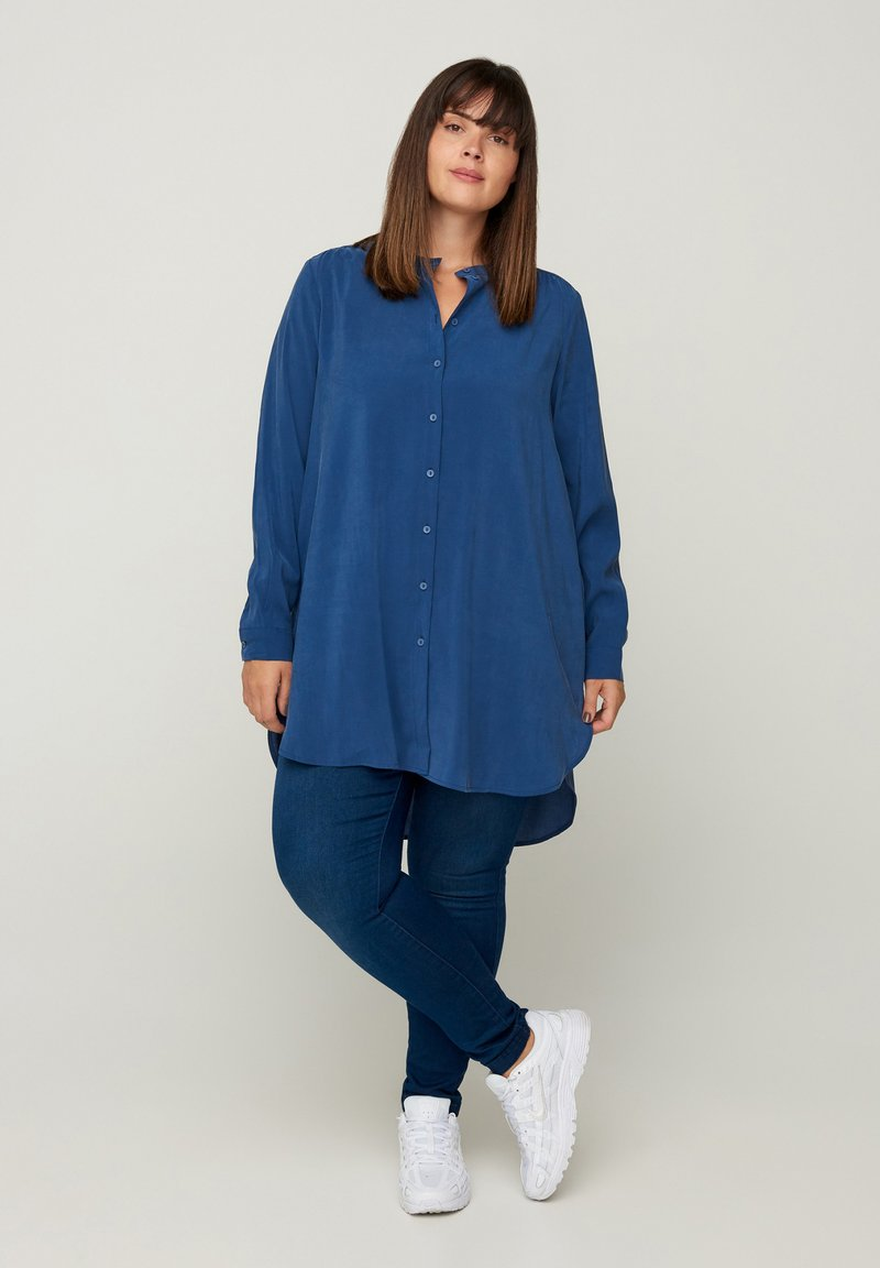 Zizzi - LONG - Button-down blouse - blue