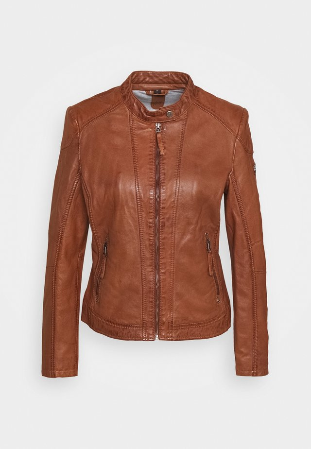 STACY - Lederjacke - cognac