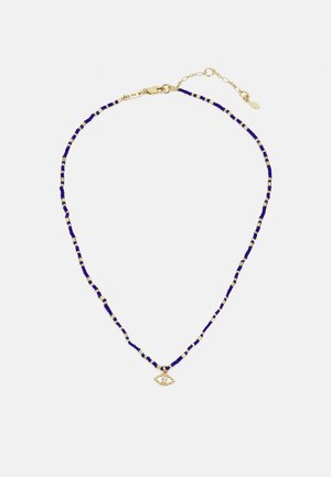 BEADED NECKLACE WITH CHARM - Collana - gold-coloured/blue