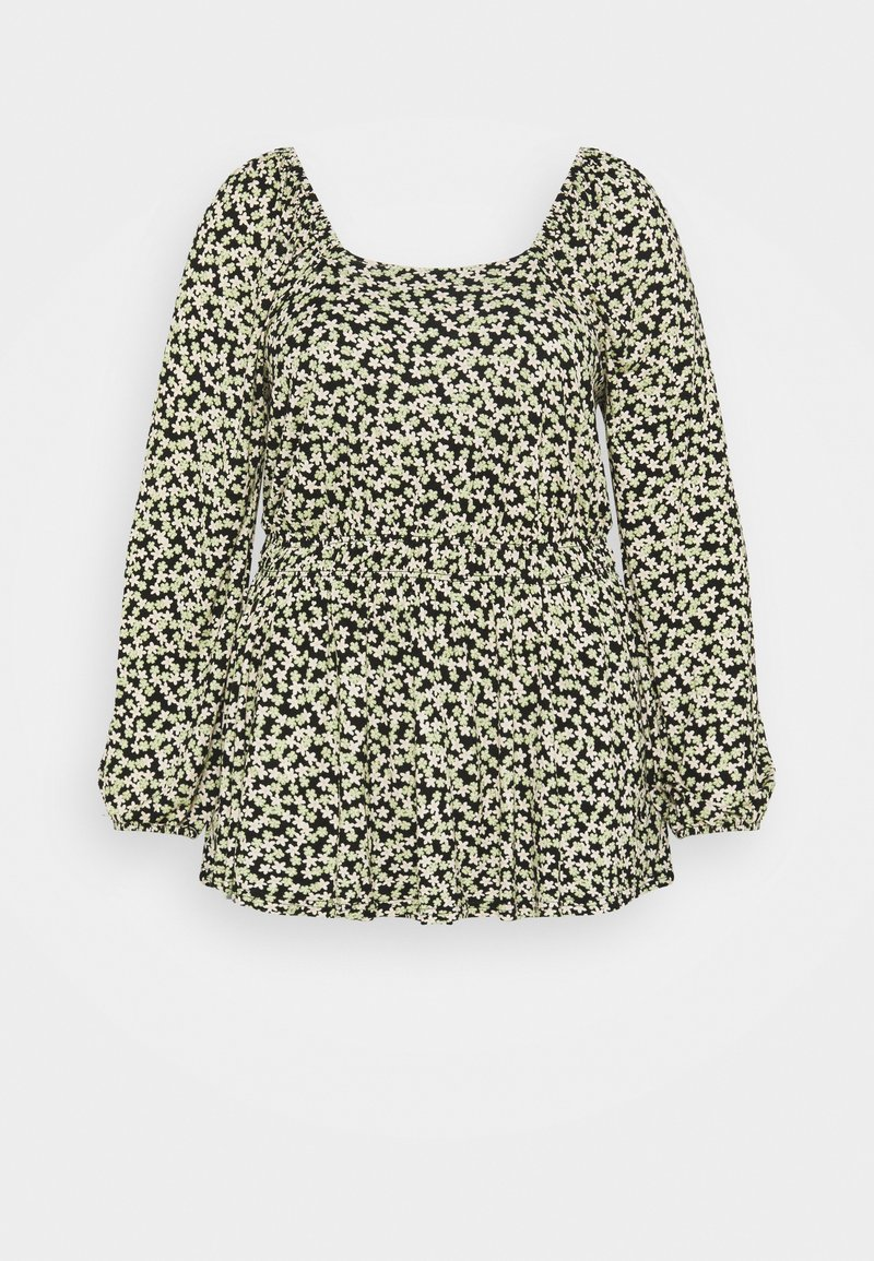 Dorothy Perkins Curve - CURVE DITSY SHIRRED SQUARE NECK LONG SLEEVE - Camicetta - multi