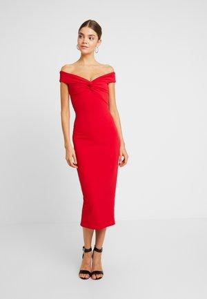 BARDOT TWIST DETAIL MIDI DRESS - Vestito elegante - red