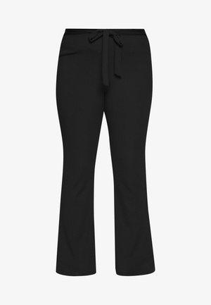 PLUS FLARE TIE BELT TROUSER - Trousers - black