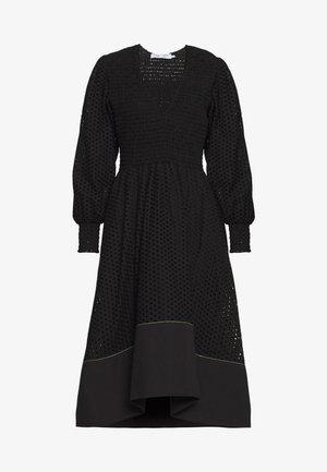 LONG SLEEVE SMOCKED TOP DRESS - Day dress - black